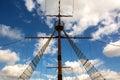 Symmetry main mast with cloudy sky Royalty Free Stock Photo