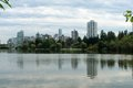Symmetry reflections on the quiet waters with city skyline Stock Photo