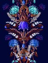 Symmetry seamless border with tropical flowers in blue color. Vector illustration.