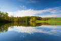 Symmetry in the summer landscape at pond Royalty Free Stock Photos
