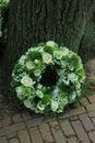 Sympathy wreath near a tree Royalty Free Stock Photo