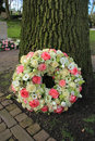 Sympathy wreath near tree a pink and white roses Royalty Free Stock Photo