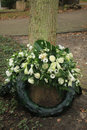 Sympathy wreath wreaths near a tree on a cemetery Royalty Free Stock Images