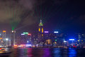 Symphony of lights show in hong kong island skyline during the daily it takes places every day at pm and lasts for about minutes Royalty Free Stock Photo