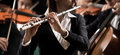Symphony orchestra performance flutist close up professional female in concert with players on background Stock Images