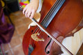 Symphony violin closeup of musician playing the during a Royalty Free Stock Photos