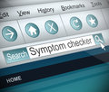 Symptom checker concept illustration depicting a screenshot of an internet search with a Royalty Free Stock Image