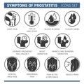 Symptoms of prostatitis. Infographic vector elements. medical icon