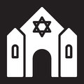 Synagogue icon, vector illustration isolated on black.