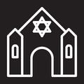 Synagogue line icon, white outline sign, vector illustration.