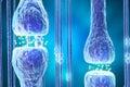 Synaptic transmission, human nervous system. 3d rendering