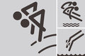Synchronized diving icons summer sports set Royalty Free Stock Photo