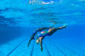 Synchronized Swim Girls Underwater  Stock Photos