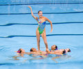 Synchronized swimming kazakh team performs at free routine final of th fina world championships on july in barcelona spain russia Royalty Free Stock Photo