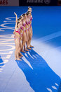 Synchronized swimming spain spanish team performs at free routine final of th fina world championships on july in barcelona russia Stock Photos