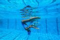 Synchronized team swimming girls underwater action at national championships kings park durban south africa Stock Images