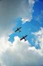 Synchronous flight of two planes Royalty Free Stock Photo
