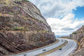 Syncline at sideling hill maryland interstate cuts through an area of the allegheny mountains in western exposing the strata in a Royalty Free Stock Images