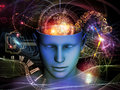 Synergies of the mind background design cutout male head and symbolic elements on subject human consciousness imagination science Stock Photos