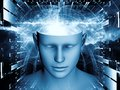 Synergies of the mind background design human head and symbolic elements on subject human consciousness imagination science and Stock Photography