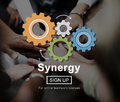 Synergy collaboration cooperation teamwork concept Stock Photo