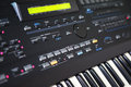 Synthesizer closeup view of a musical instrument keyboard Royalty Free Stock Photo