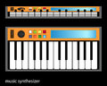Synthesizer isolated on black background eps opacity Stock Images