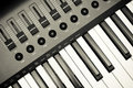 Synthesizer keyboard and controls Royalty Free Stock Photo