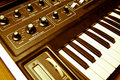 Synthesizer with knobs and keys Stock Photo