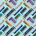 Synthesizer piano musical keyboard equipment seamless pattern vector illustration.