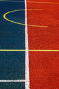 Synthetic sports field with turf and different markings used in Royalty Free Stock Photography
