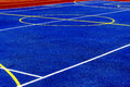 Synthetic sports field with turf and different markings used in Royalty Free Stock Image