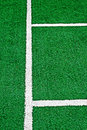 Synthetic sports field with turf and different markings used in detail Royalty Free Stock Images