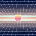 Synthwave Retro Futuristic Landscape With Sun And Styled Laser Grid. Neon Retrowave Design And Elements Sci-fi 80s 90s
