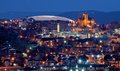 Syracuse skyline ny city night downtown crouse college university hill cityview scenic buildings evening sunset Stock Photos
