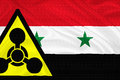 Syria crisis flag of with the chemical weapons sign waving with highly detailed textile texture pattern representing the chemical Royalty Free Stock Photo