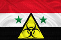 Syria crisis flag of with the chemical weapons sign waving with highly detailed textile texture pattern representing the chemical Royalty Free Stock Images