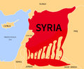 Syria crisis refugee war victims country map silhouette in blood red color with the words victim immigration civil in syrian Royalty Free Stock Image