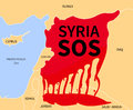 Syria crisis sos refugee war victims country map silhouette in blood red color with the words victim immigration civil in syrian Royalty Free Stock Images
