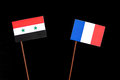 Syrian flag with French flag  on black Royalty Free Stock Photo
