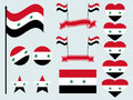 Syrian flag set. Collection of symbols, flag in heart. Button and star. Vector Royalty Free Stock Photo