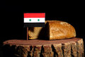 Syrian flag on a stump with bread Royalty Free Stock Photo