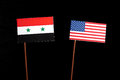 Syrian flag with USA flag  on black Royalty Free Stock Photo