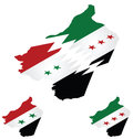 Syrian isometric flag maps with representation of country being torn apart by conflict Royalty Free Stock Photos