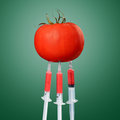 Syringe injected into red tomato Stock Photos
