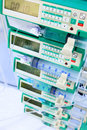 Syringe pumps in intensive care unit image with shallow dof Stock Photo