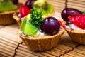 Syrlig och träbakgrund för mini frukt Fotografering för Bildbyråer