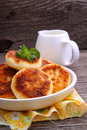Syrniki cottage cheese pancakes fritters of cottage cheese traditional ukrainian and russian cuisine Stock Image