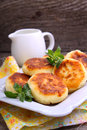 Syrniki cottage cheese pancakes fritters of cottage cheese traditional ukrainian and russian cuisine Stock Photography