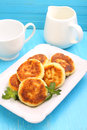 Syrniki cottage cheese pancakes fritters of cottage cheese traditional ukrainian and russian cuisine Royalty Free Stock Photos